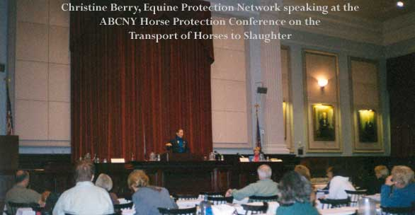 Christine Berry, Equine Protection Network speaking at the ABCNY Horse Protection Conference on the transport of horses to slaughter.