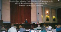 Christine Berry speaking at the ABCNY Conference on Horse Welfare