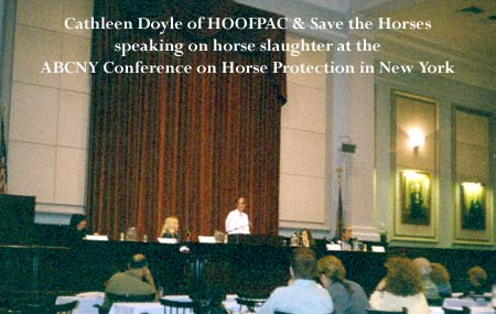 Cathleen Doyle, HOOFPAC & Save The Horses speaking at the  ABCNY Horse Protection Conference on horse slaughter.