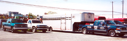 NYC crriage company truck and trailer in New Holland Sales Stables parking lot for Monday sale.